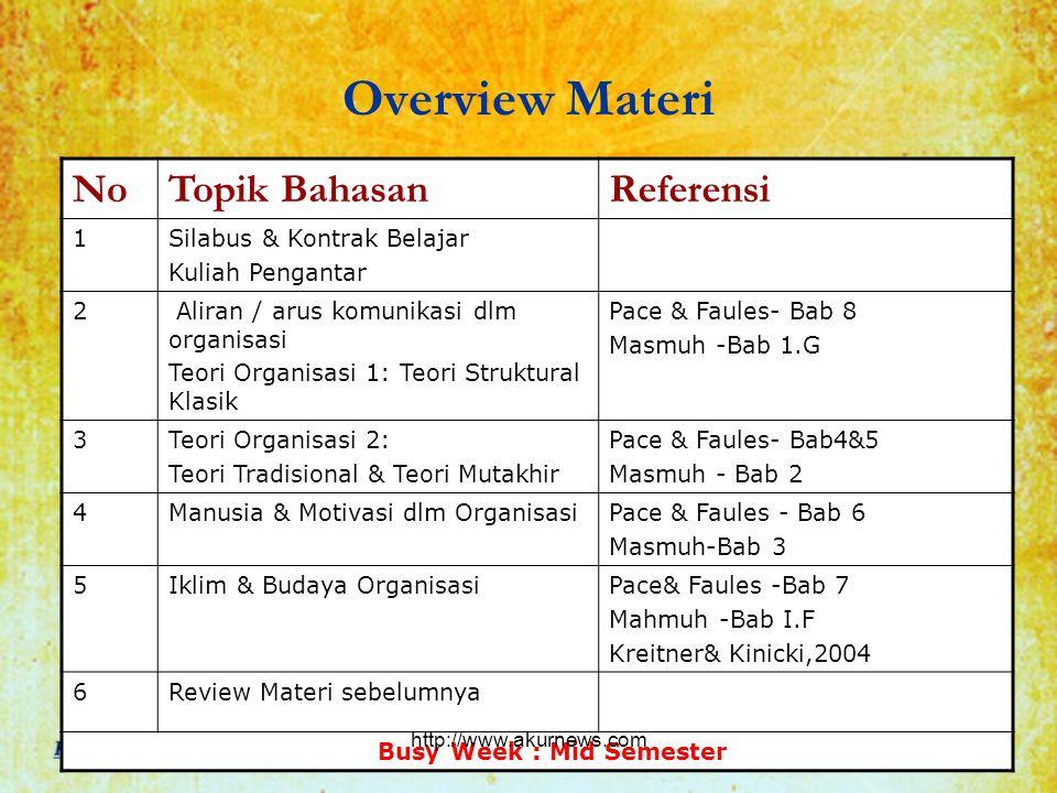 Overview Materi No Topik Bahasan Referensi 1 Silabus & Kontrak Belajar