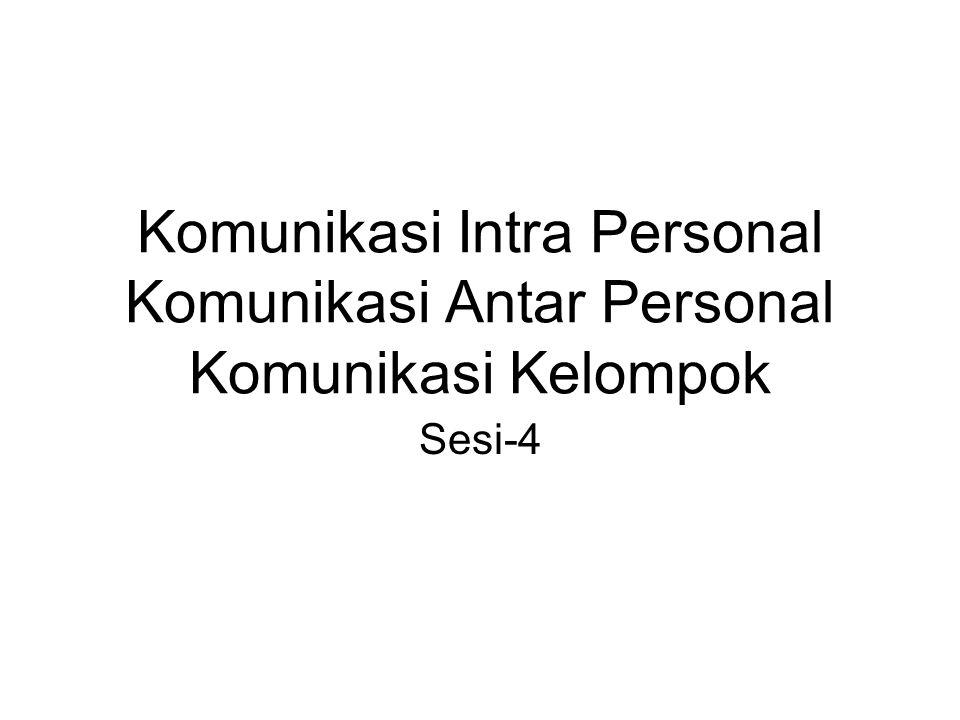 Komunikasi Intra Personal Komunikasi Antar Personal Komunikasi Kelompok