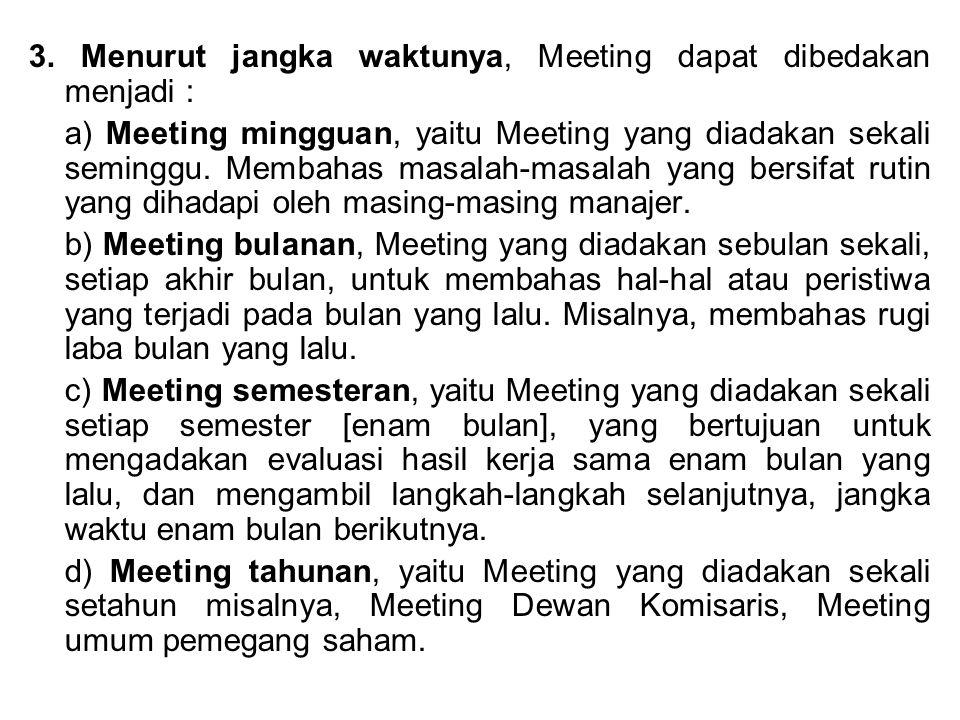3. Menurut jangka waktunya, Meeting dapat dibedakan menjadi :