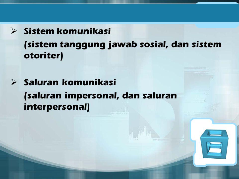 Sistem komunikasi (sistem tanggung jawab sosial, dan sistem otoriter) Saluran komunikasi.