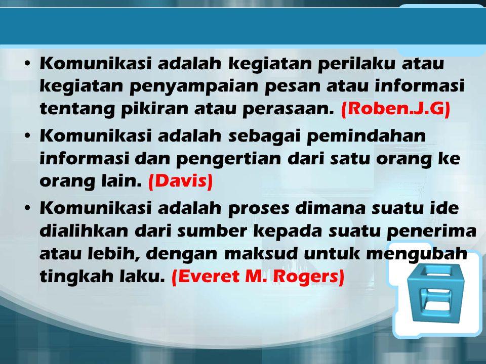 Komunikasi adalah kegiatan perilaku atau kegiatan penyampaian pesan atau informasi tentang pikiran atau perasaan. (Roben.J.G)