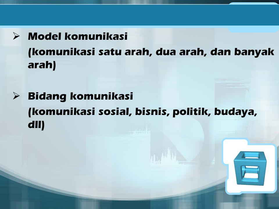 Model komunikasi (komunikasi satu arah, dua arah, dan banyak arah) Bidang komunikasi.
