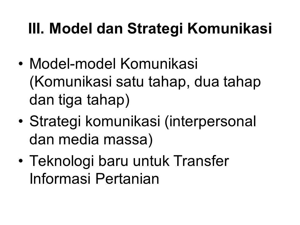 III. Model dan Strategi Komunikasi