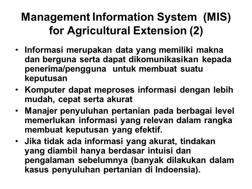 Management Information System (MIS) for Agricultural Extension (2)