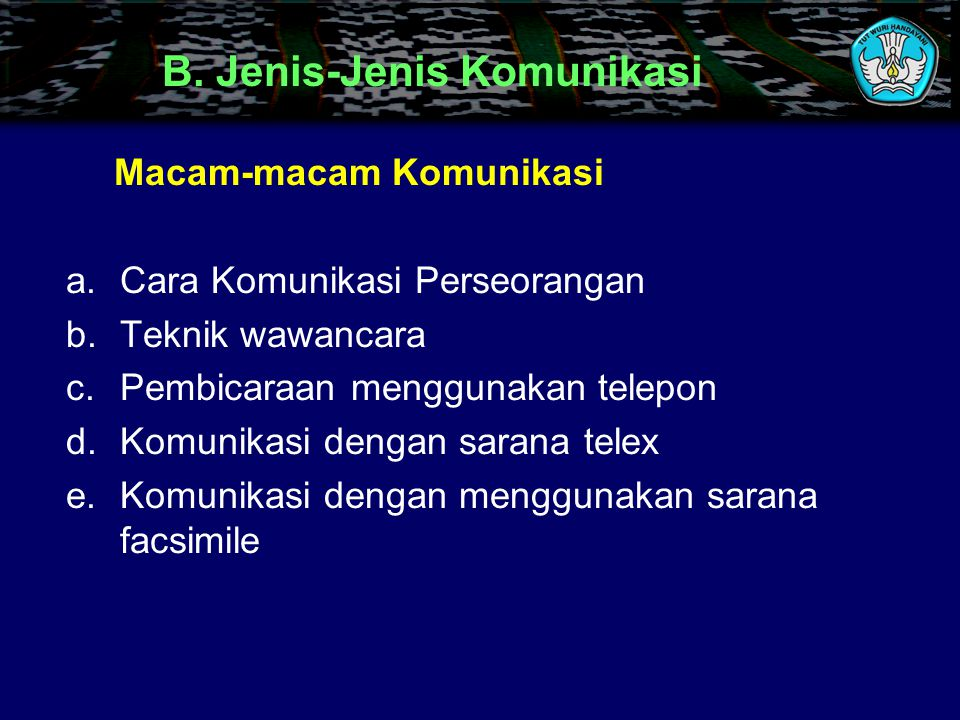 B. Jenis-Jenis Komunikasi