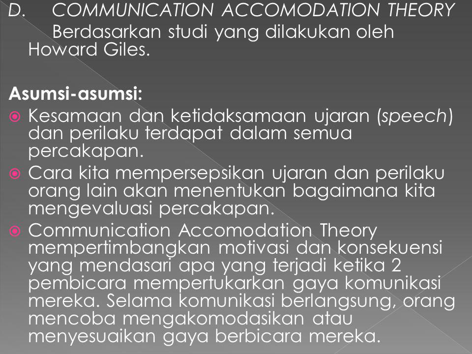 D. COMMUNICATION ACCOMODATION THEORY