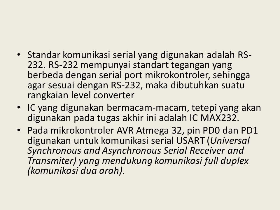 Standar komunikasi serial yang digunakan adalah RS-232