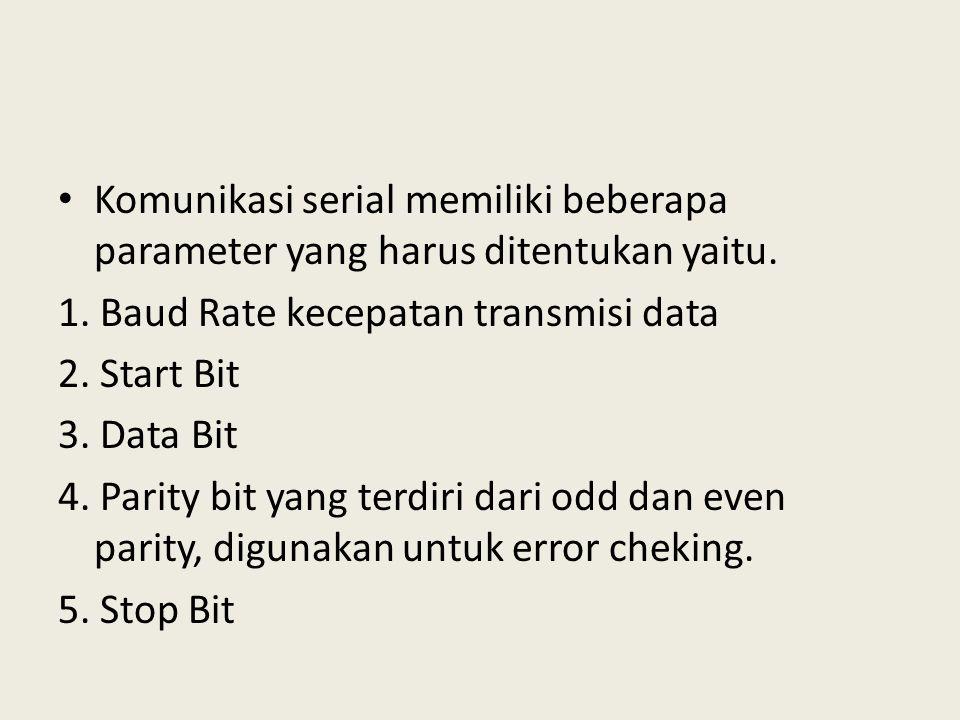 Komunikasi serial memiliki beberapa parameter yang harus ditentukan yaitu.