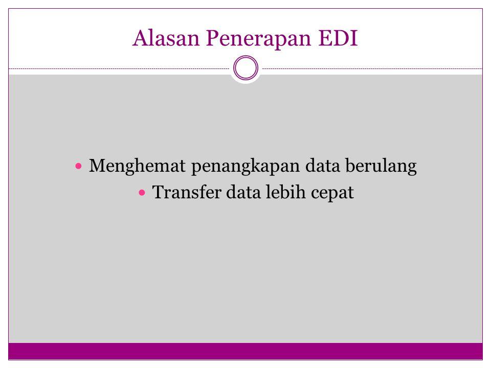 Alasan Penerapan EDI Menghemat penangkapan data berulang