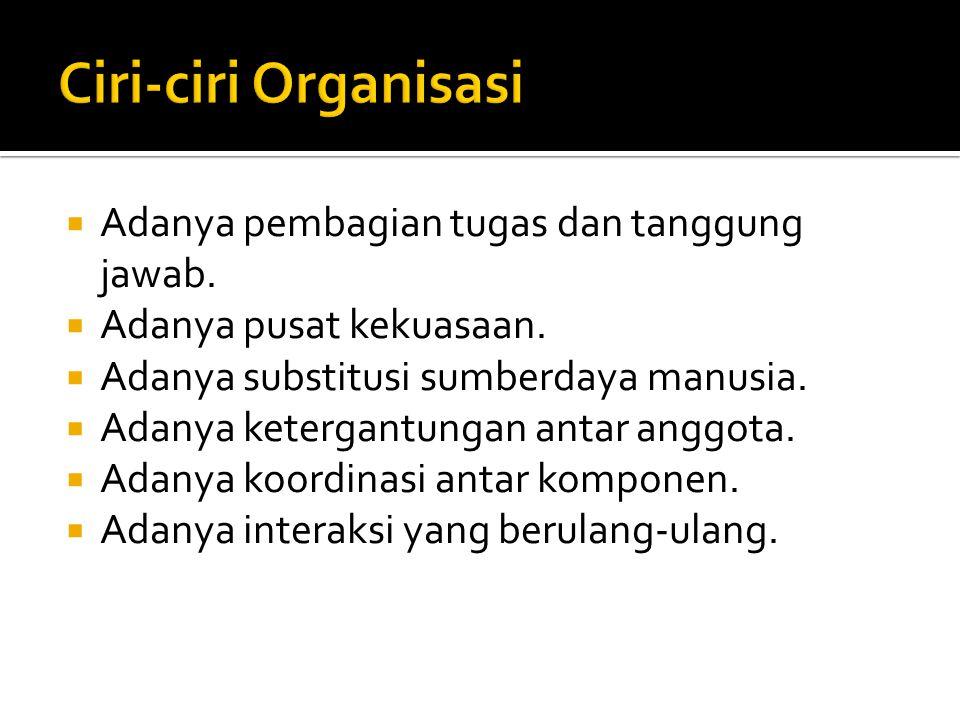 Ciri-ciri Organisasi Adanya pembagian tugas dan tanggung jawab.