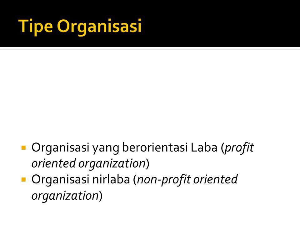 Tipe Organisasi Organisasi yang berorientasi Laba (profit oriented organization) Organisasi nirlaba (non-profit oriented organization)