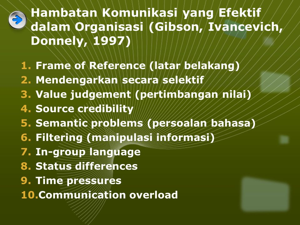 Hambatan Komunikasi yang Efektif dalam Organisasi (Gibson, Ivancevich, Donnely, 1997)