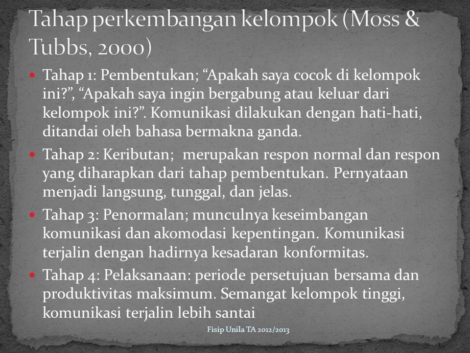 Tahap perkembangan kelompok (Moss & Tubbs, 2000)