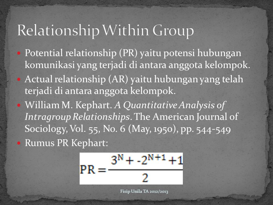 Relationship Within Group