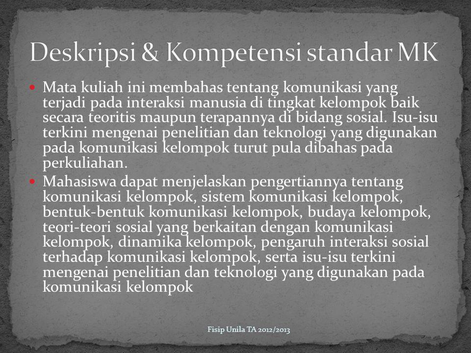 Deskripsi & Kompetensi standar MK