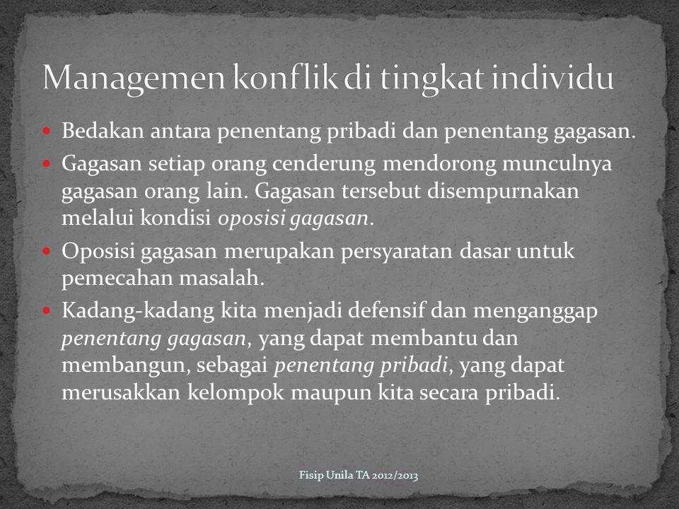 Managemen konflik di tingkat individu