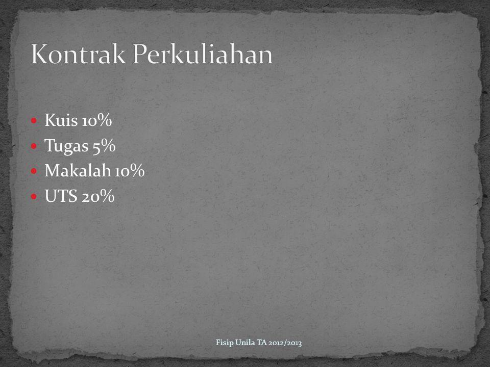 Kontrak Perkuliahan Kuis 10% Tugas 5% Makalah 10% UTS 20%