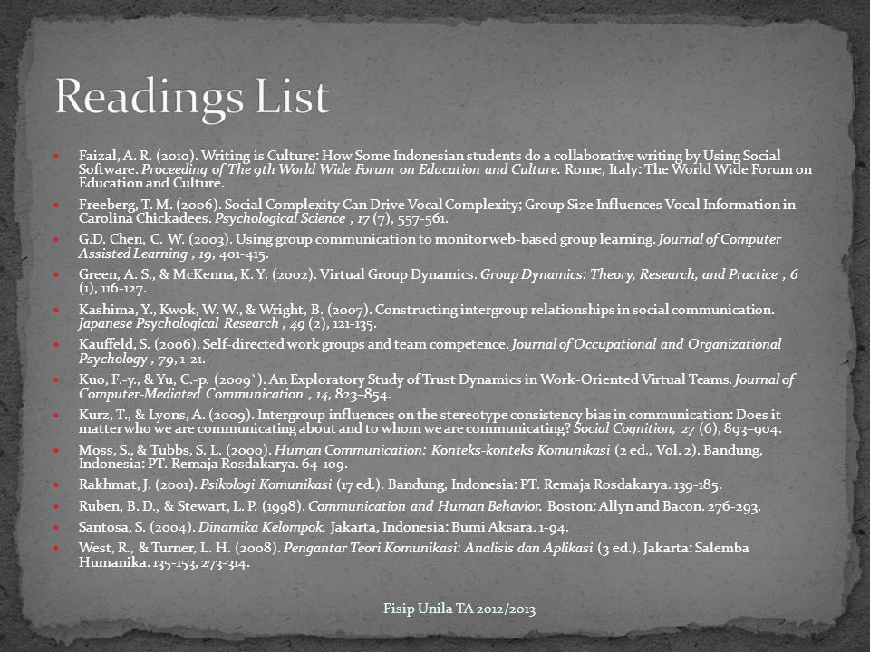Readings List