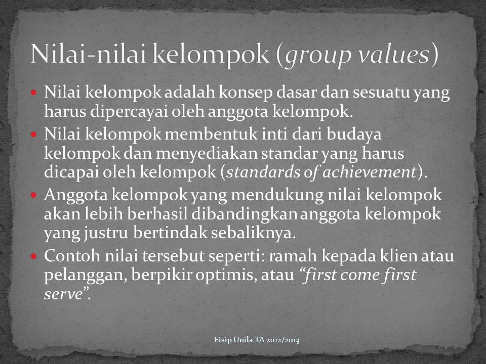 Nilai-nilai kelompok (group values)