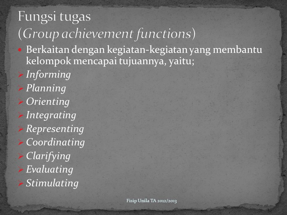 Fungsi tugas (Group achievement functions)