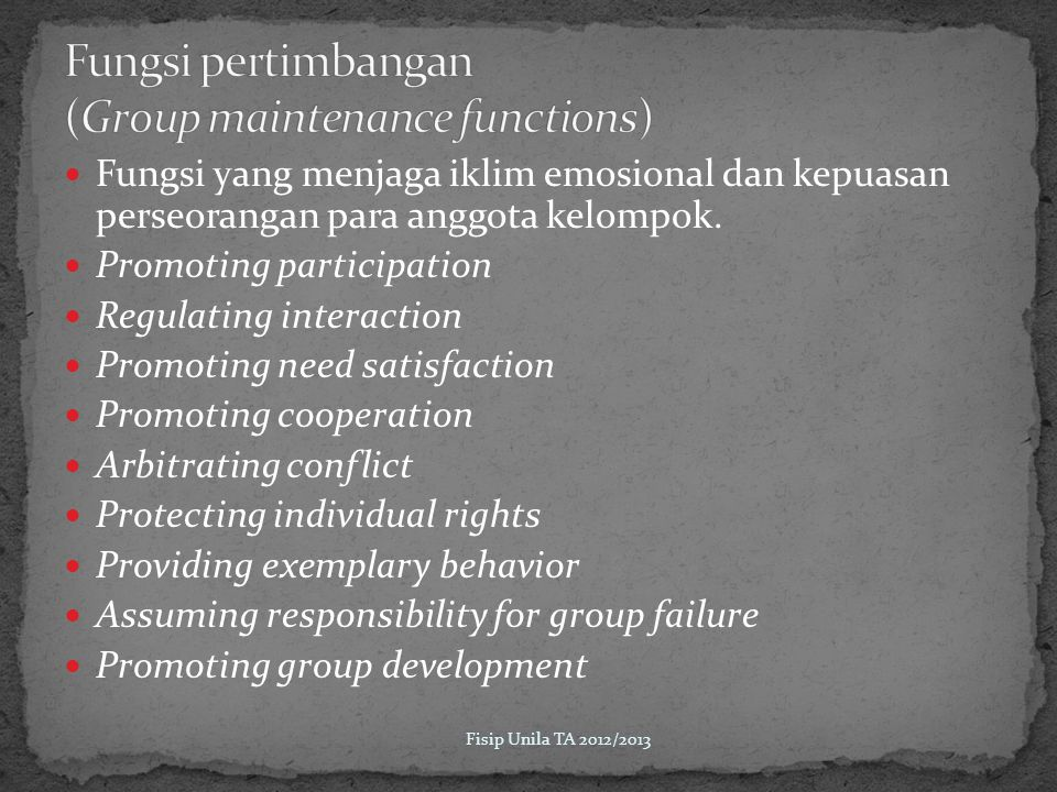 Fungsi pertimbangan (Group maintenance functions)