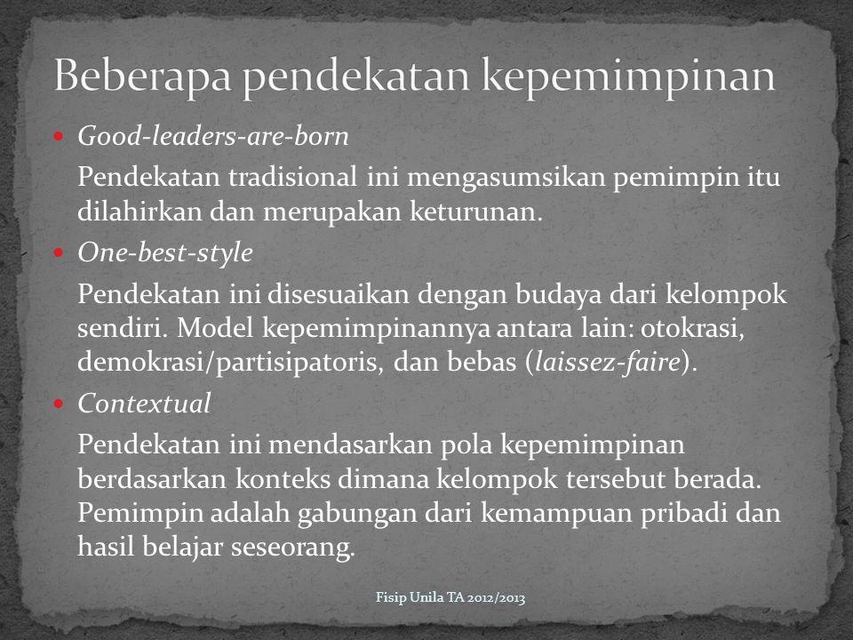 Beberapa pendekatan kepemimpinan