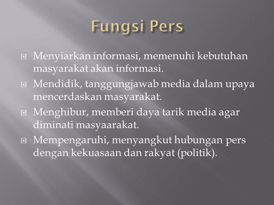 Fungsi Pers Menyiarkan informasi, memenuhi kebutuhan masyarakat akan informasi. Mendidik, tanggungjawab media dalam upaya mencerdaskan masyarakat.