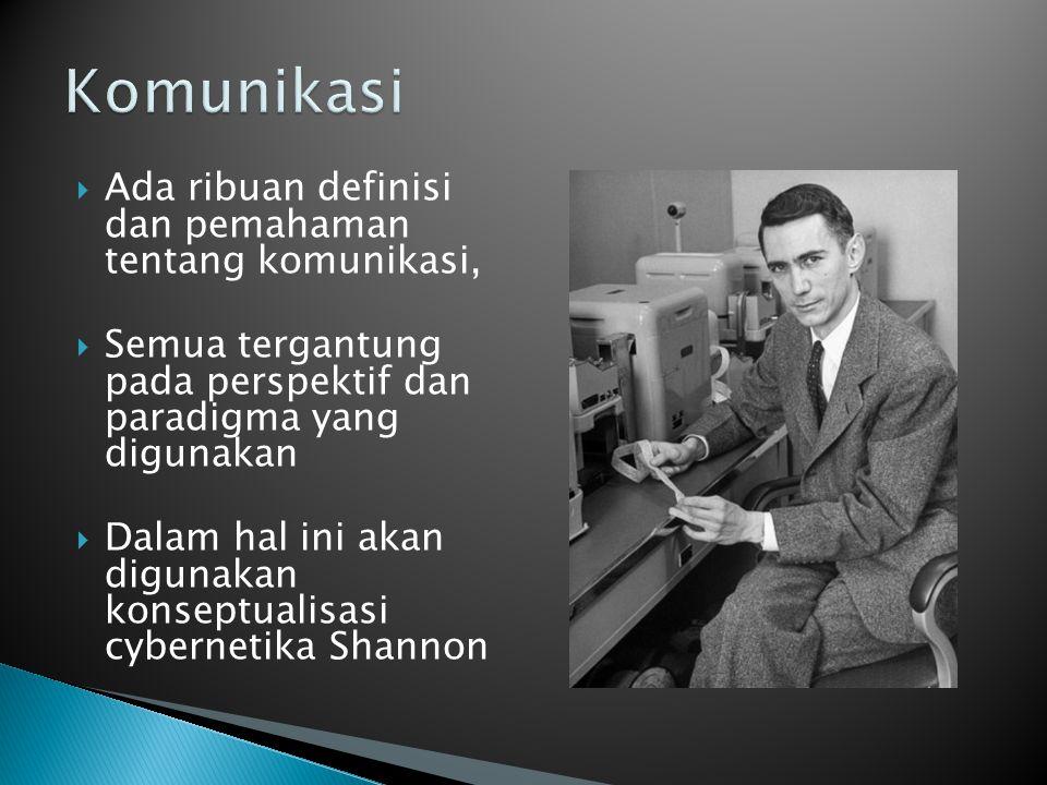Komunikasi Ada ribuan definisi dan pemahaman tentang komunikasi,