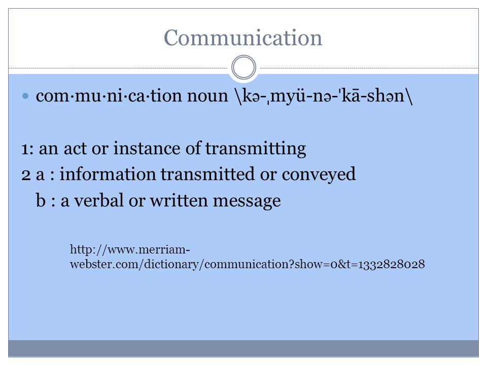 Communication com·mu·ni·ca·tion noun \kə-ˌmyü-nə-ˈkā-shən\