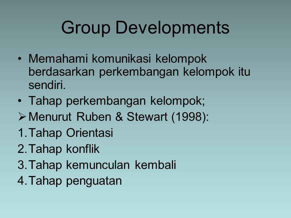 Group Developments Memahami komunikasi kelompok berdasarkan perkembangan kelompok itu sendiri. Tahap perkembangan kelompok;