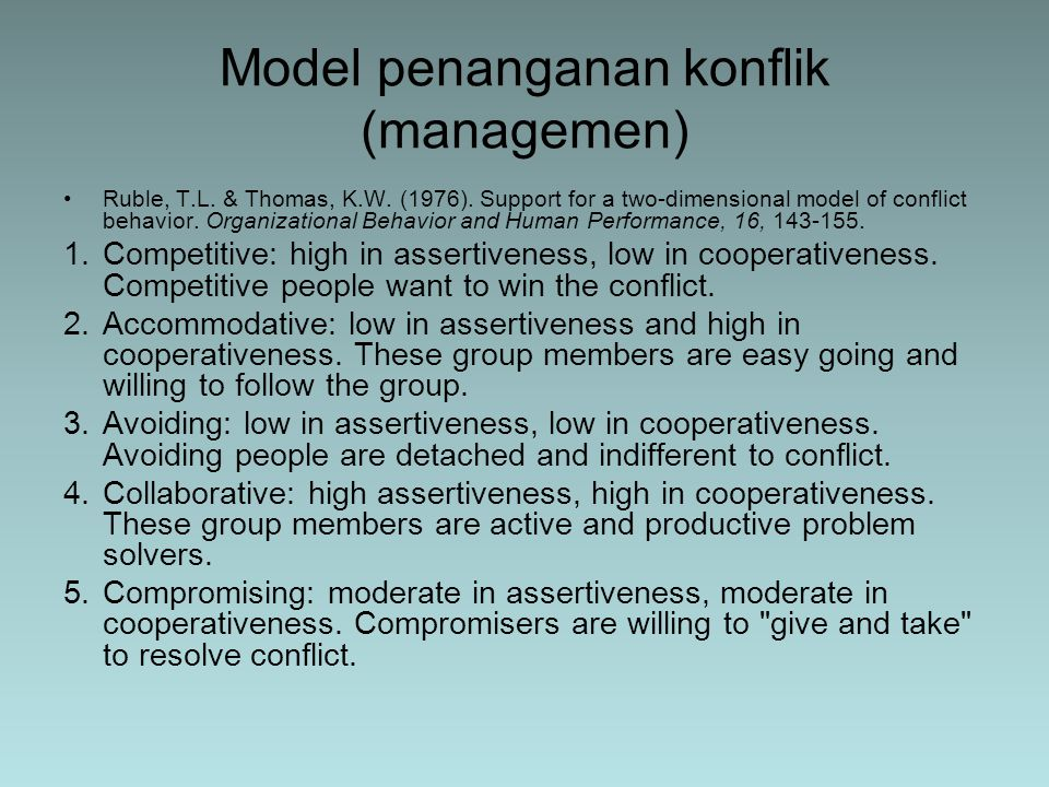 Model penanganan konflik (managemen)