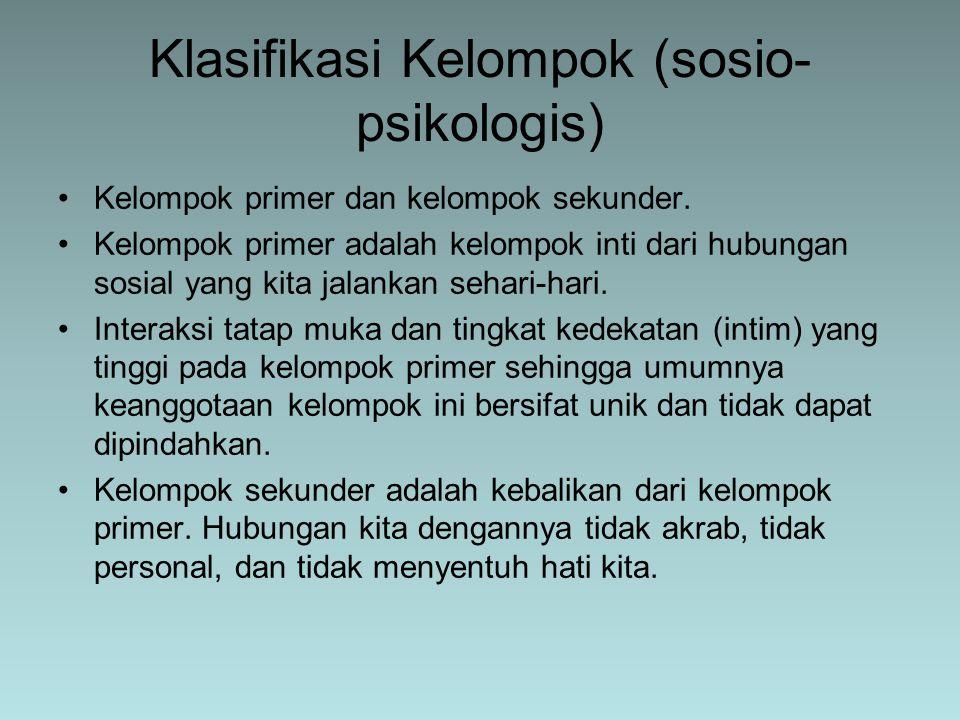 Klasifikasi Kelompok (sosio-psikologis)
