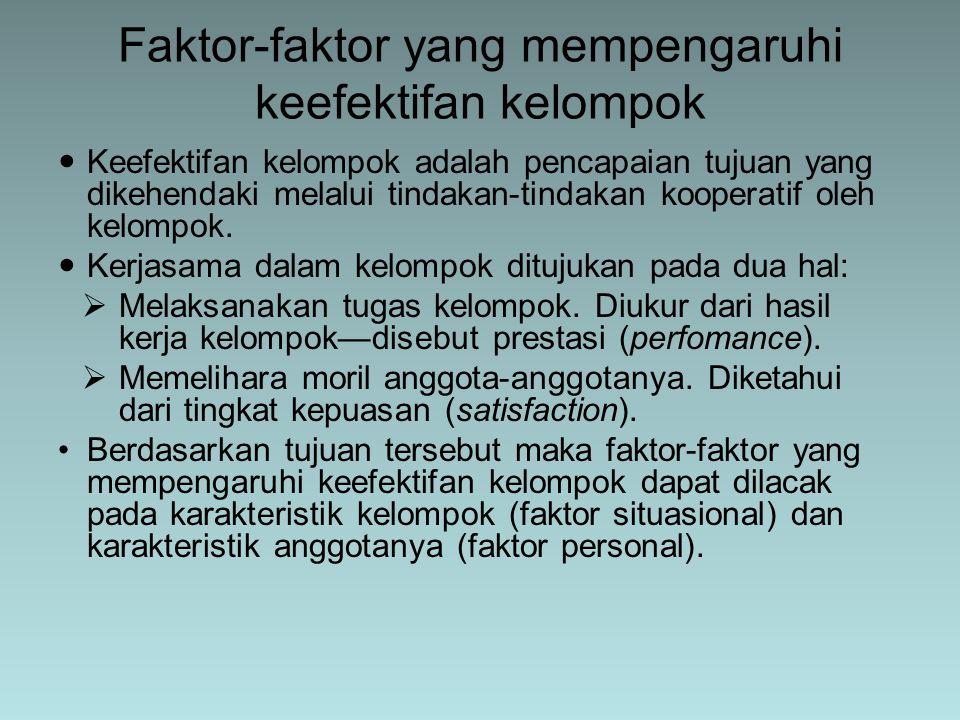 Faktor-faktor yang mempengaruhi keefektifan kelompok