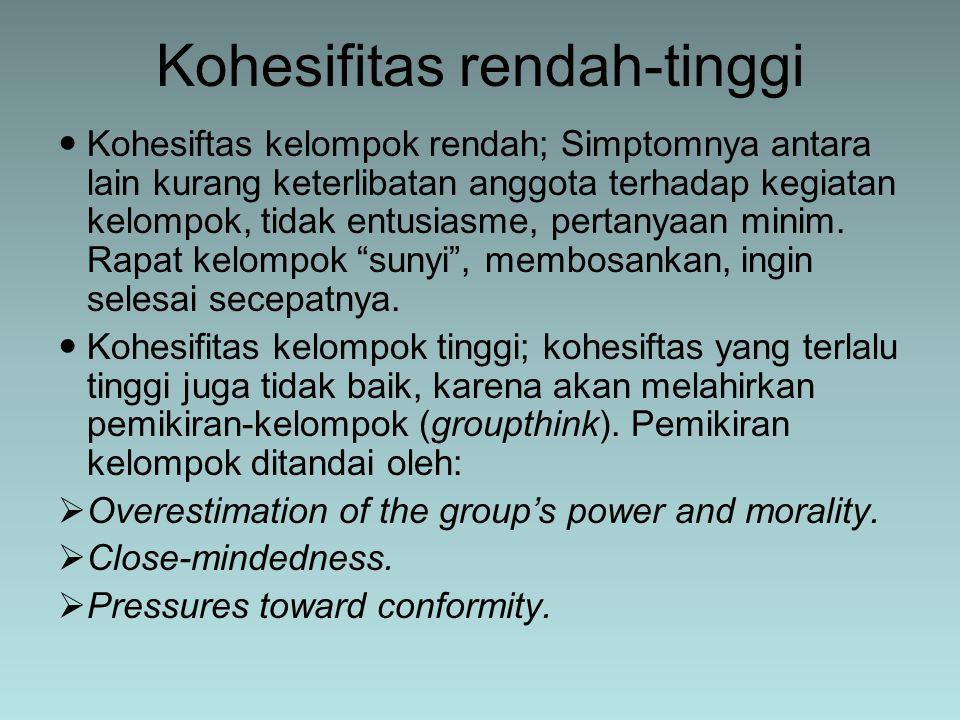Kohesifitas rendah-tinggi