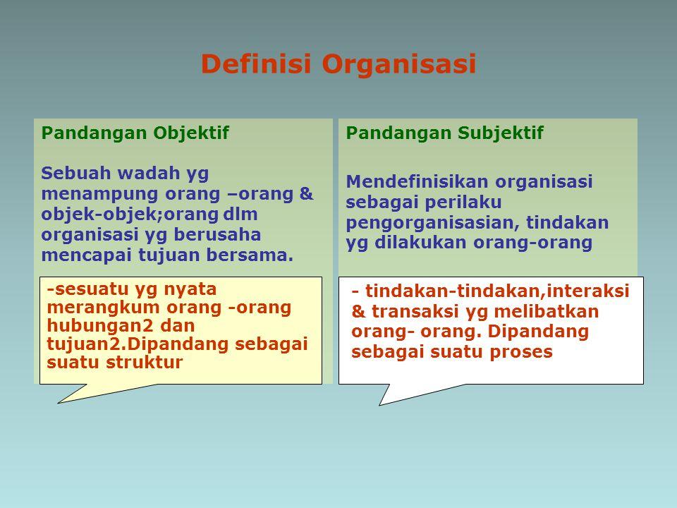 Definisi Organisasi Pandangan Objektif