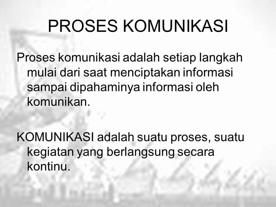 PROSES KOMUNIKASI Proses komunikasi adalah setiap langkah mulai dari saat menciptakan informasi sampai dipahaminya informasi oleh komunikan.