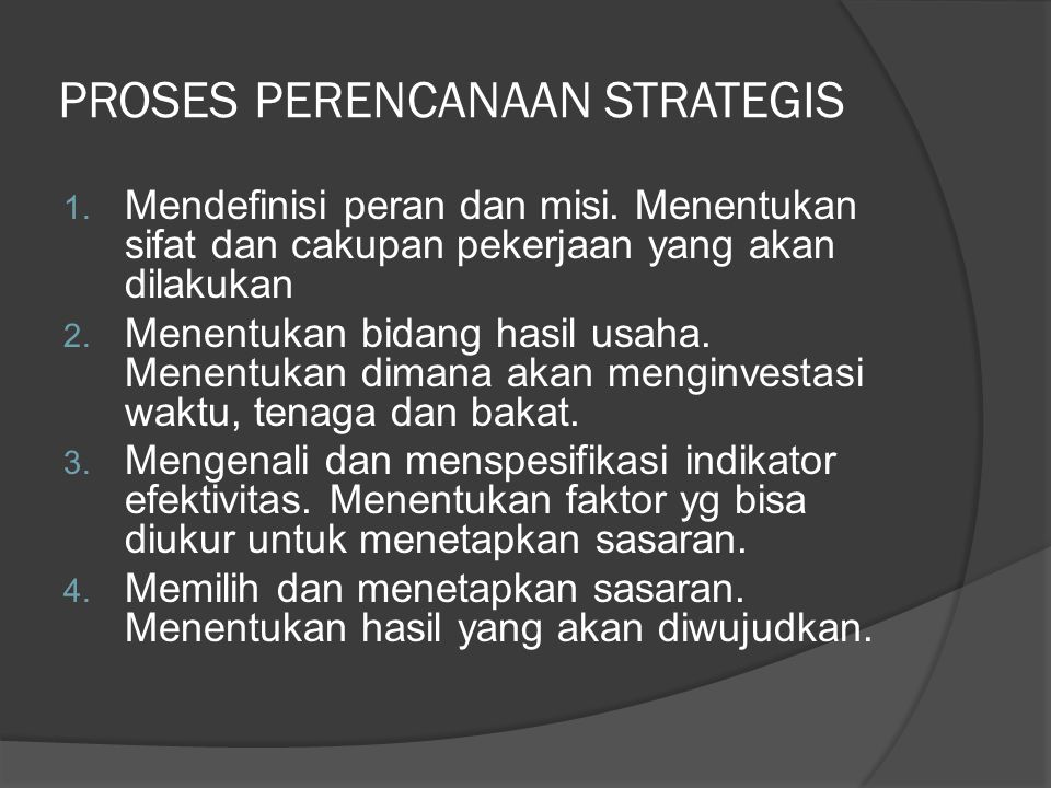 PROSES PERENCANAAN STRATEGIS