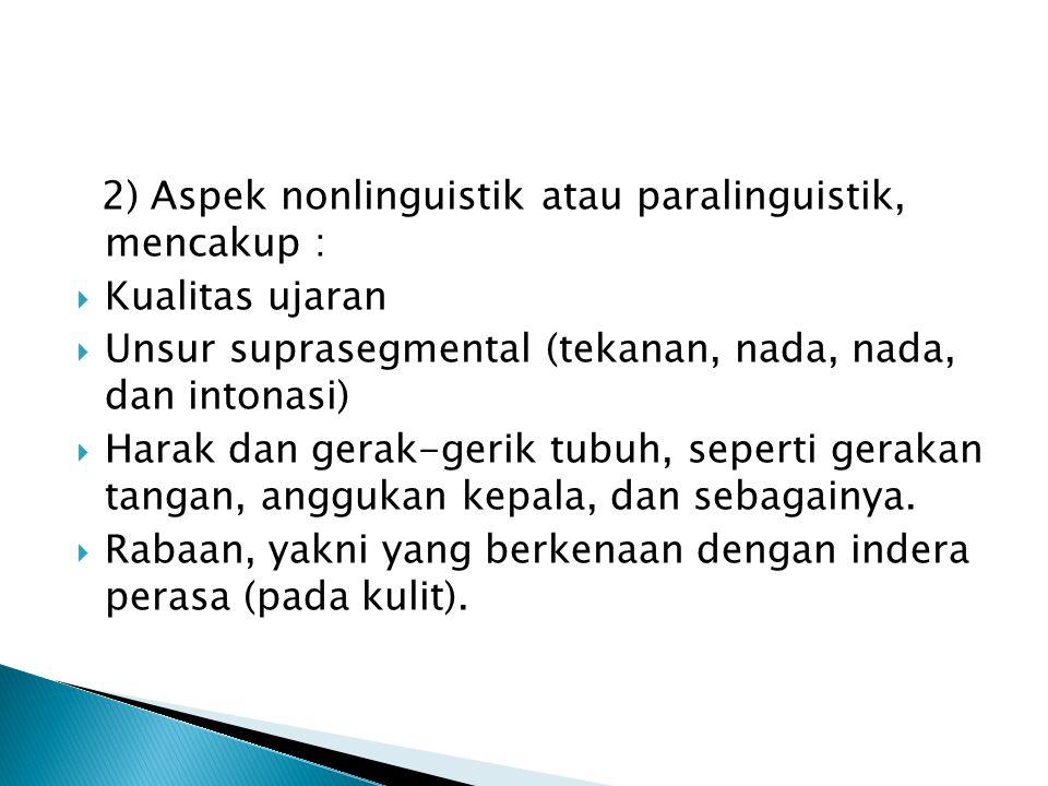2) Aspek nonlinguistik atau paralinguistik, mencakup :