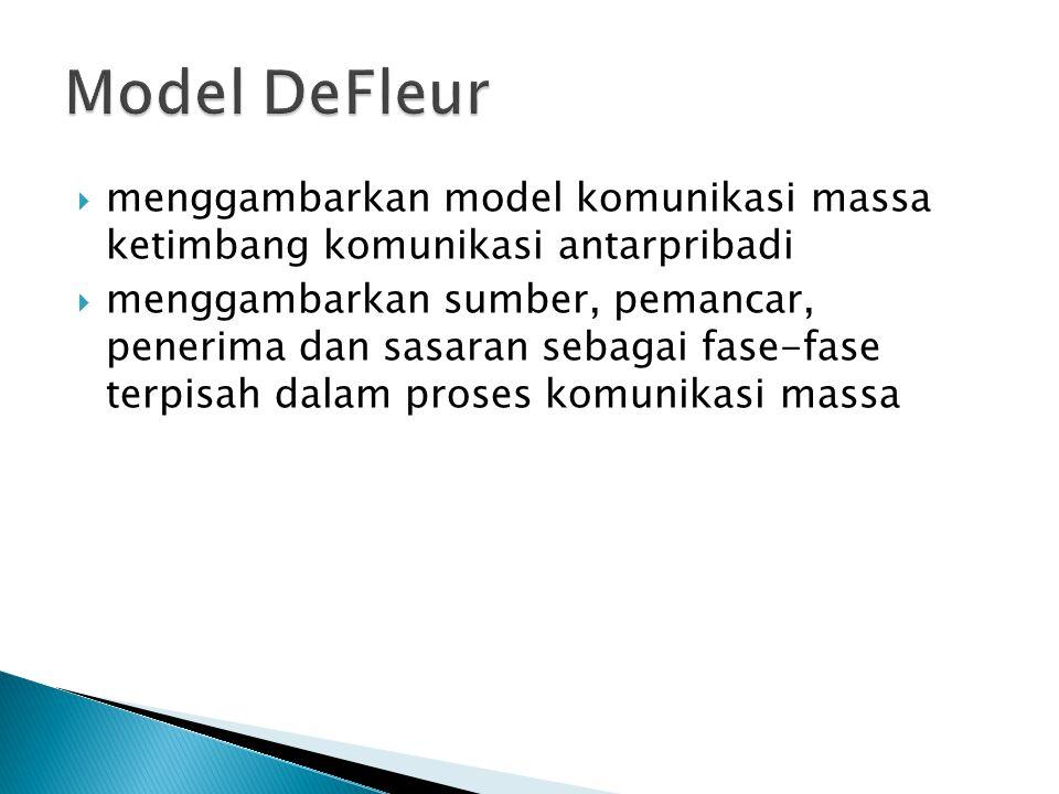 Model DeFleur menggambarkan model komunikasi massa ketimbang komunikasi antarpribadi.