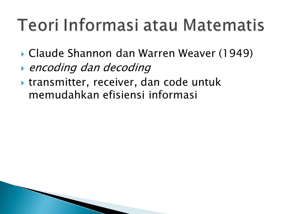 Teori Informasi atau Matematis
