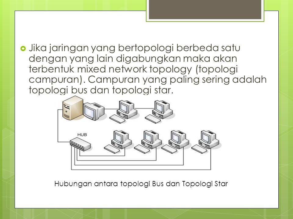 Jika jaringan yang bertopologi berbeda satu dengan yang lain digabungkan maka akan terbentuk mixed network topology (topologi campuran). Campuran yang paling sering adalah topologi bus dan topologi star.