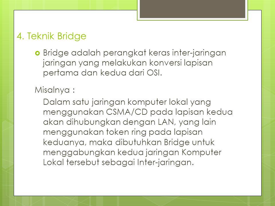 4. Teknik Bridge Bridge adalah perangkat keras inter-jaringan jaringan yang melakukan konversi lapisan pertama dan kedua dari OSI.