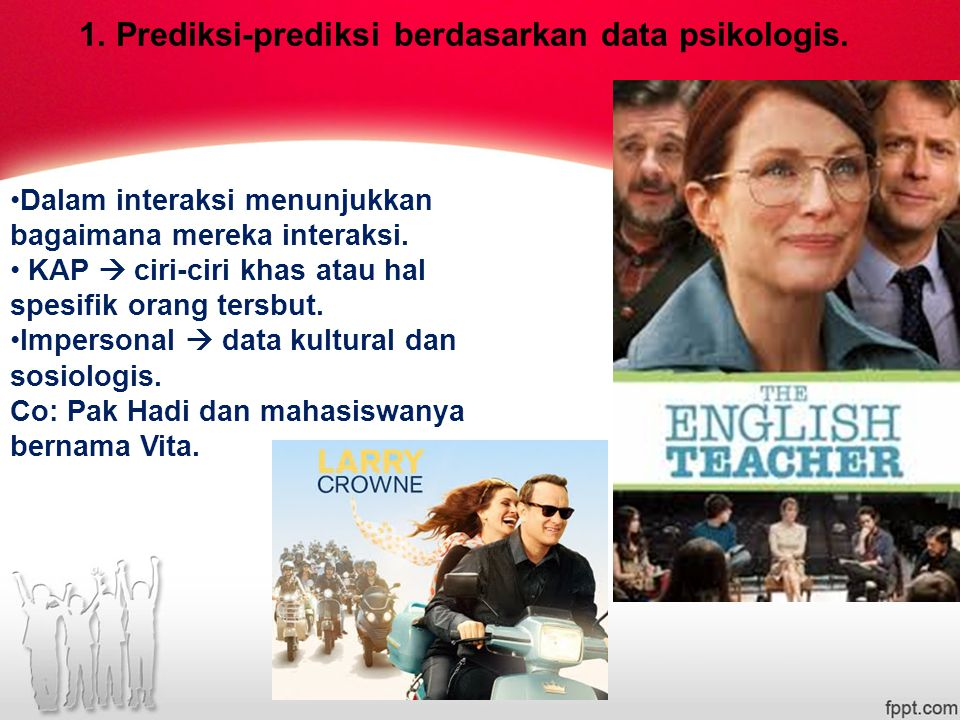 1. Prediksi-prediksi berdasarkan data psikologis.