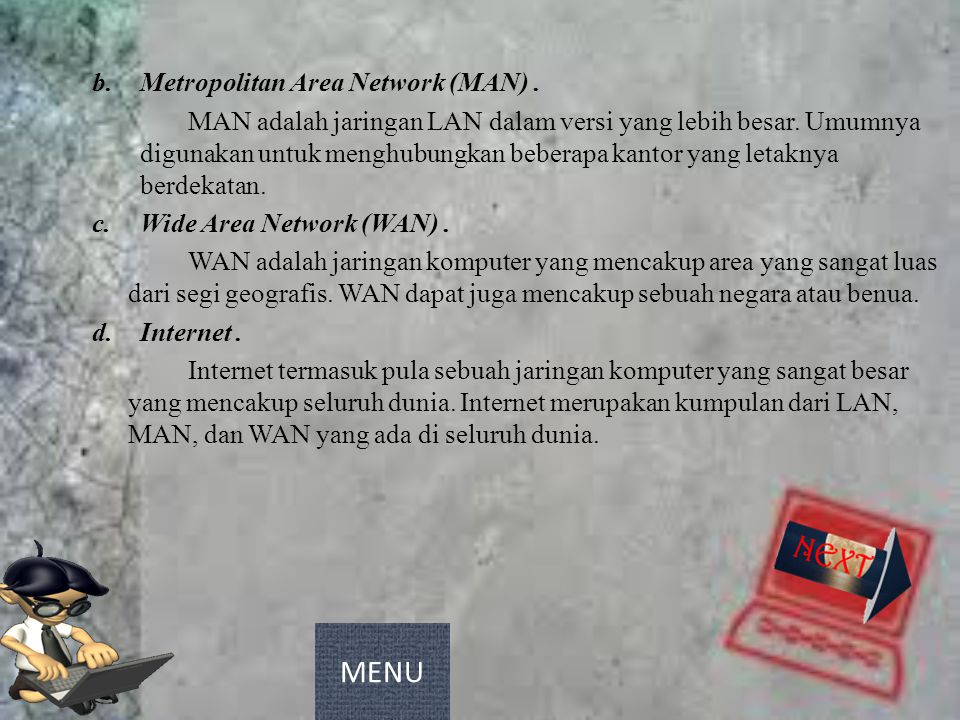 MENU Metropolitan Area Network (MAN) .