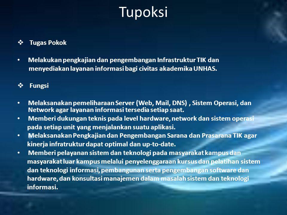 Tupoksi Tugas Pokok. Melakukan pengkajian dan pengembangan Infrastruktur TIK dan. menyediakan layanan informasi bagi civitas akademika UNHAS.