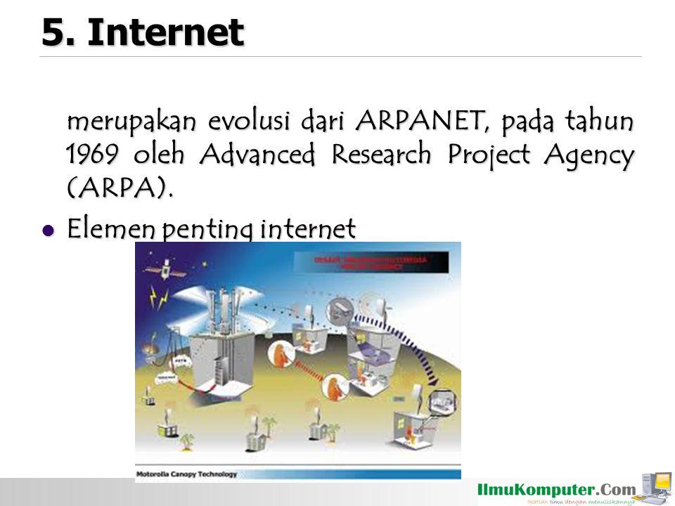 5. Internet merupakan evolusi dari ARPANET, pada tahun 1969 oleh Advanced Research Project Agency (ARPA).