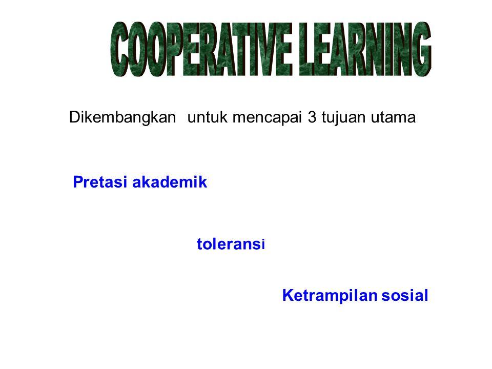 COOPERATIVE LEARNING Dikembangkan untuk mencapai 3 tujuan utama.