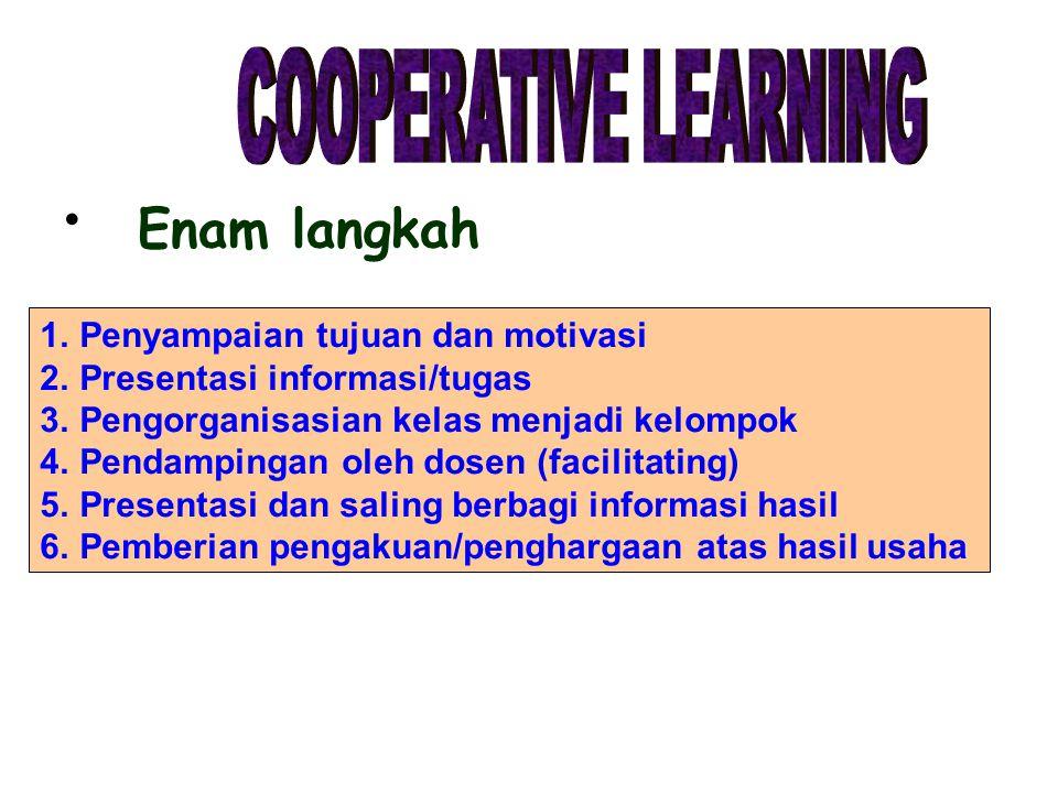 Enam langkah COOPERATIVE LEARNING Penyampaian tujuan dan motivasi