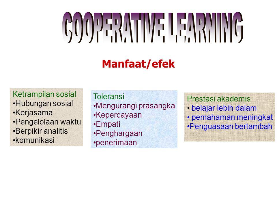 Manfaat/efek COOPERATIVE LEARNING Ketrampilan sosial Hubungan sosial