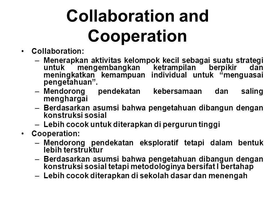 Collaboration and Cooperation